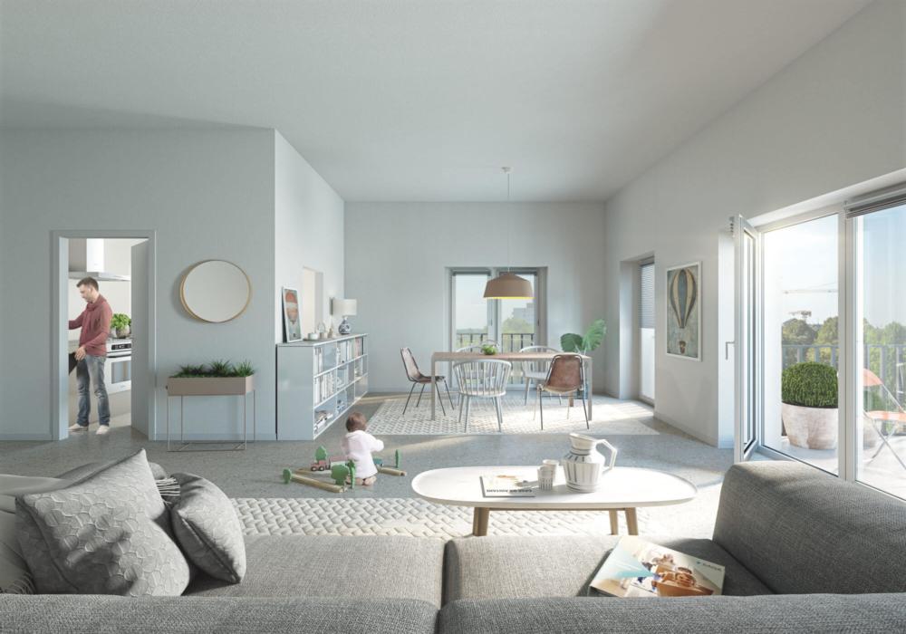 Eine visualisierte Wohnung von Innen und möbliert in Hamburg. Geplant von der Saga und NH Studio hat den Innenraum visualisiert.