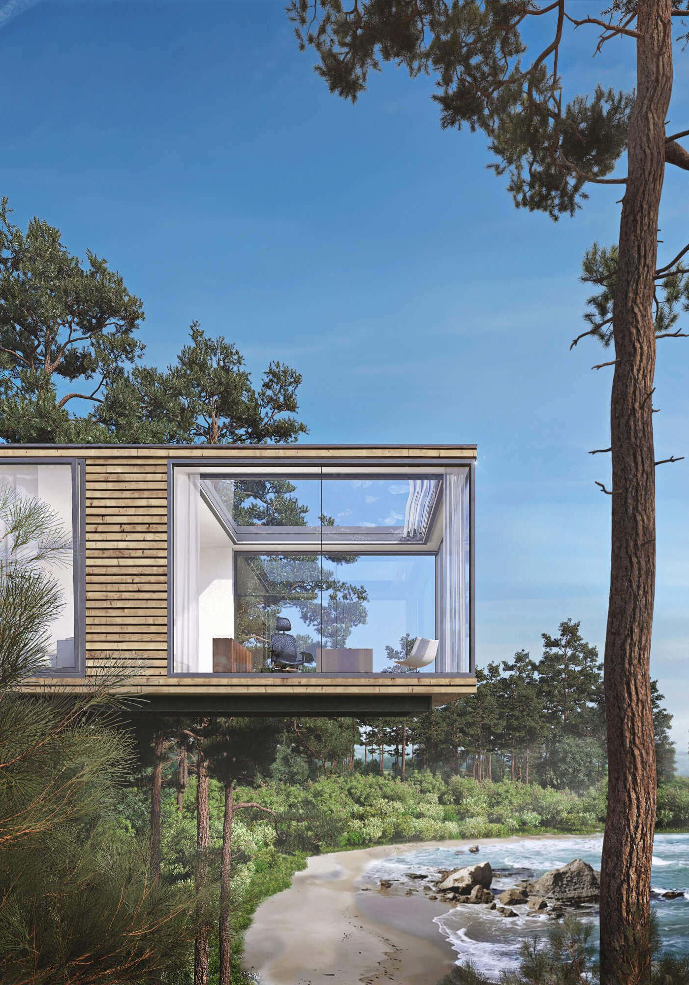 Ein Baumhaus mit Blick auf den Strand und das Meer.