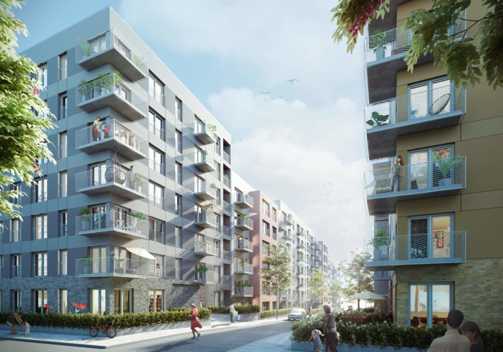 Mehrfamilienhäuser mit verschiedenen Fassaden in 3D.