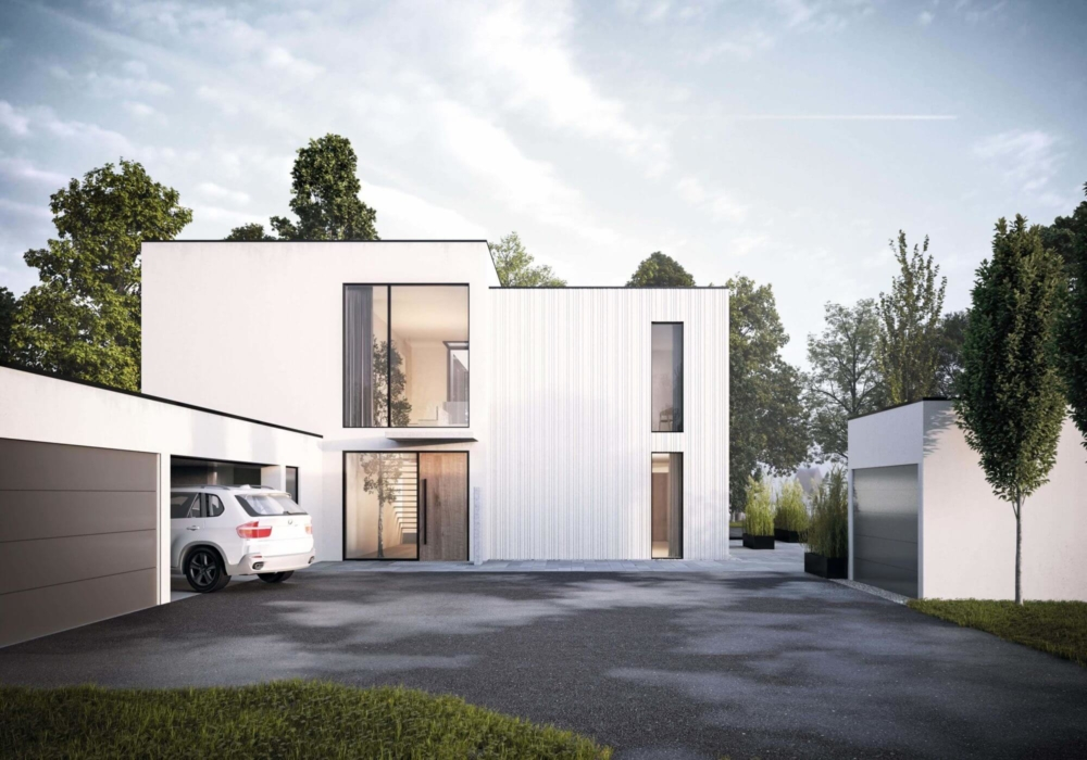 Das Einfamilienhaus mitten im Grünen an der Havel mit großzügigen Festern. Von NH Studio in 3D modelliert und visualisiert.