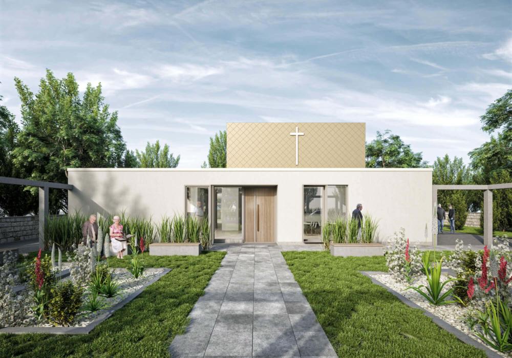 Die Aussenperspektive des Kirchenneubaus befindet sich im Grünen, umgeben von Blumen.