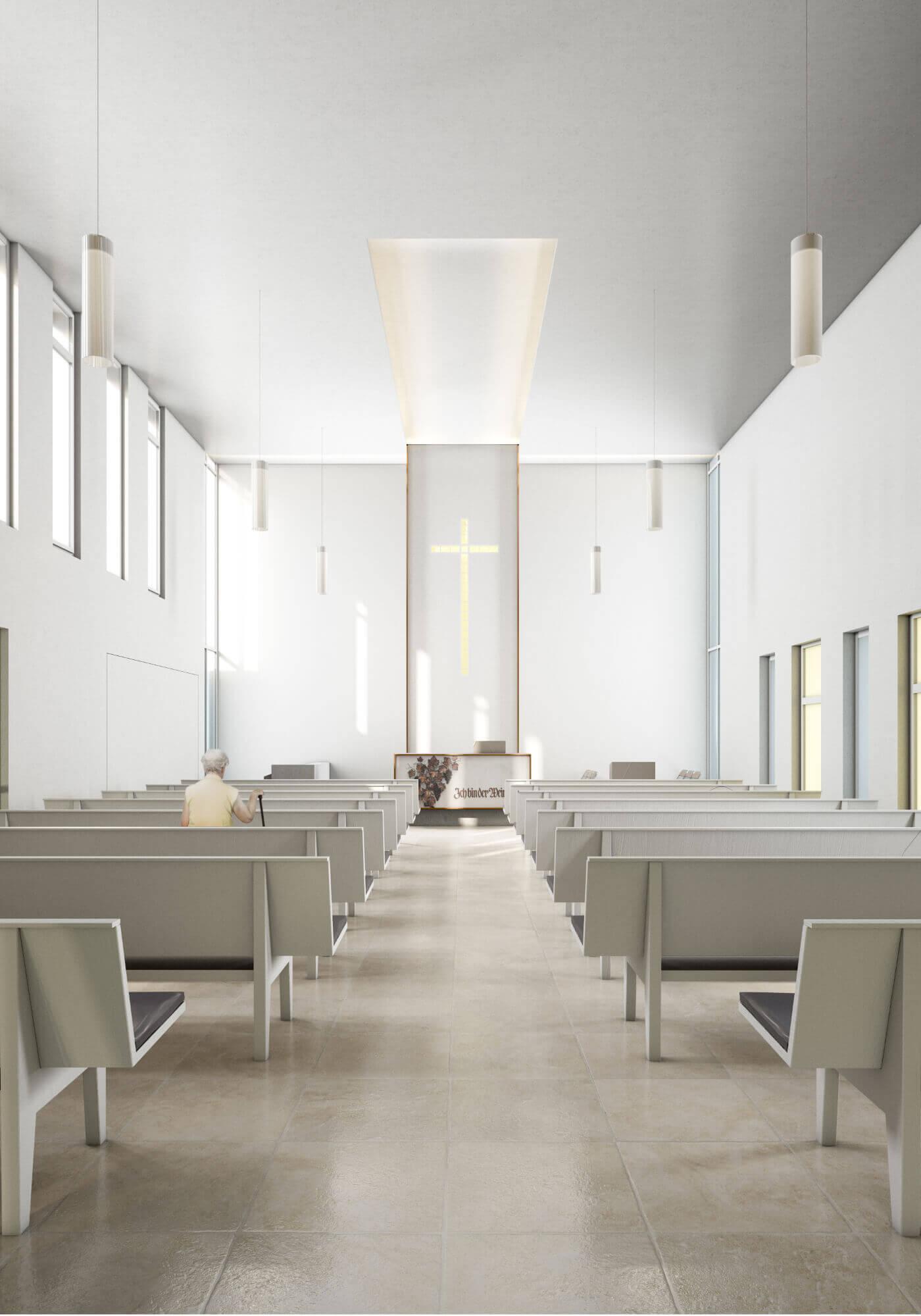 Der Kirchenneubau von Innen visualisiert.