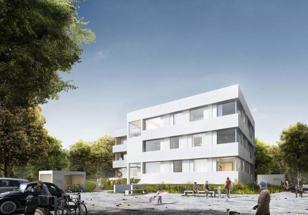Eine visualisierte Kita von Außen im Grünen mit vielen Bäumen und geplant von gruppeomp architekten.