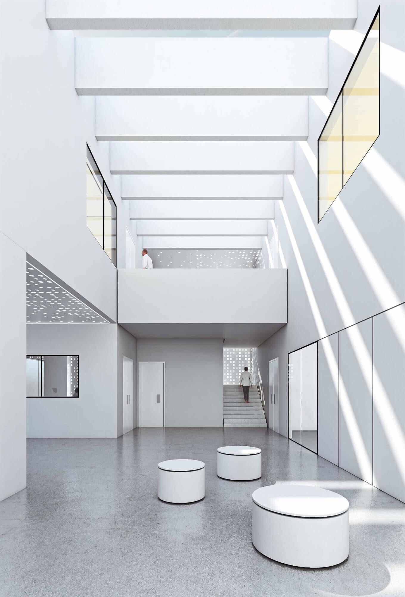 Der visualisierte Innenraum des Entwicklungs- und Innovationszentrum OWA.